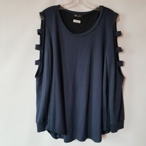 NWT french terry tunic with cut out sleeve detail